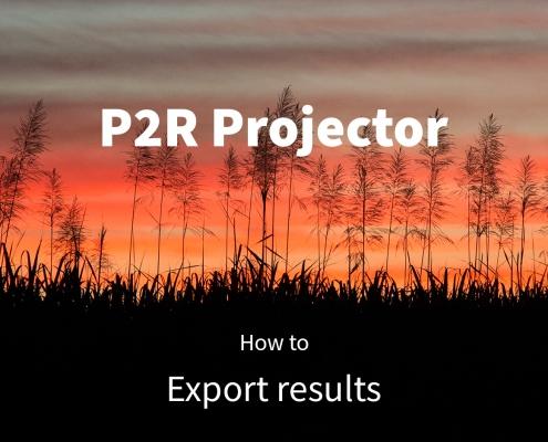 P2R Projector tutorial: Export results